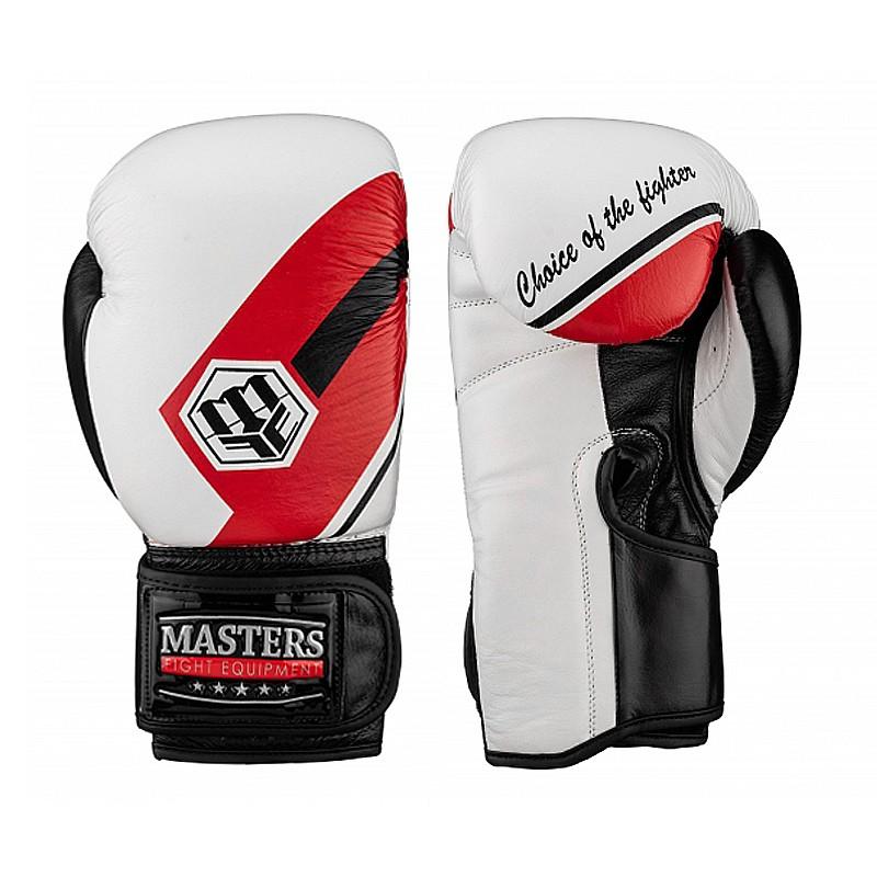 Rękawice bokserskie ze skóry naturalnej Masters White