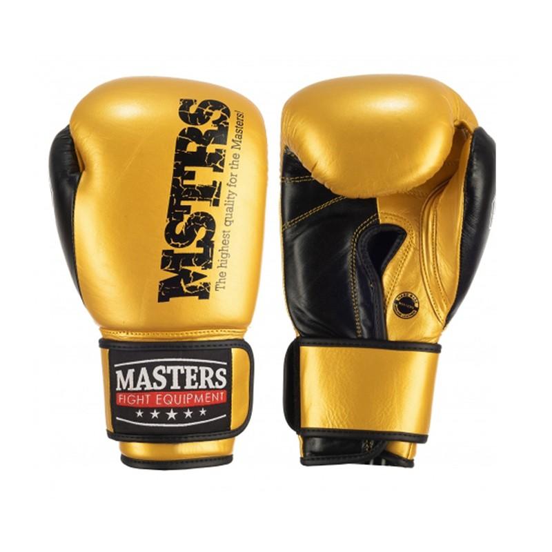 Bokserskie rękawice Masters ze skóry naturalnej złote